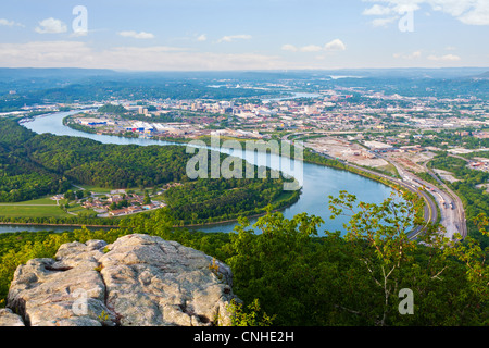 View of Chattanooga, Tennessee from Lookout Mountain - Stock Photo