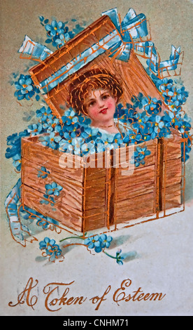 USA- CIRCA 1900 - This aged vintage greeting card is showing signs of age, with forget me not flowers, words 'A - Stock Photo