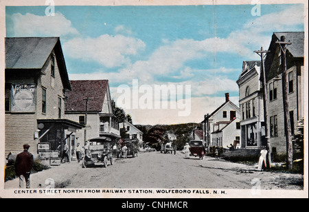 USA - CIRCA 1900 - This vintage postcard is aged and worn of Center Street near Railway Station in Wolfeboro, N.H. - Stock Photo