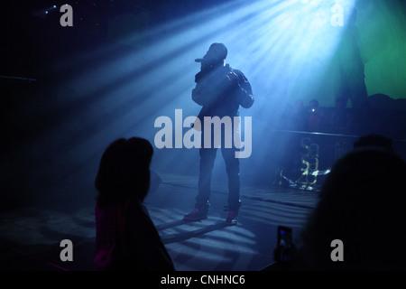 Concert of Czech pop singer Samer Issa in Sasazu Club in Prague, Czech Republic. - Stock Photo