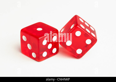 Two red dice - Stock Photo
