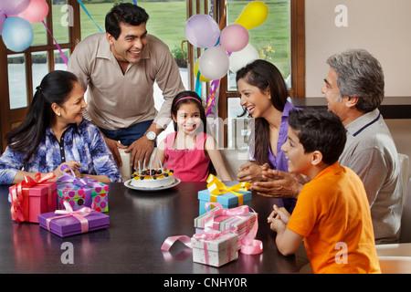 Young girl celebrating her birthday - Stock Photo