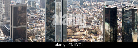 Business district viewed from Maintower, Frankfurt, Hesse, Germany - Stock Photo