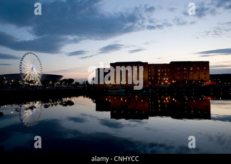 Sunset over waterfront towards Albert Dock, Liverpool, UK - Stock Photo