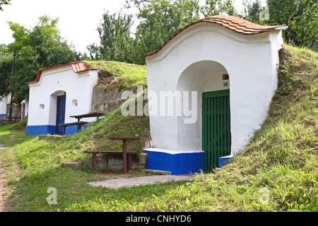 Traditional wine cellars called Plze in Petrov, Czech Republic - Stock Photo