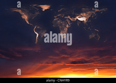 Map of the world in clouds at sunset - Stock Photo