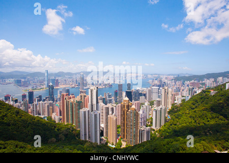 View of Victoria Harbour and Central from Victoria Peak, Hong Kong - Stock Photo
