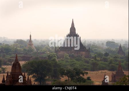 View across the Plains of Pagan from Dhammayazika paya. Burma. Bagan, Myanmar - Stock Photo