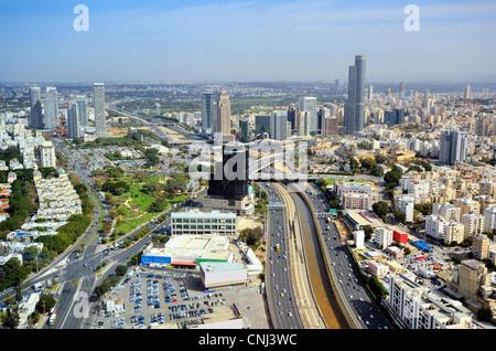 Aerial skyline of Tel Aviv, Israel. - Stock Photo