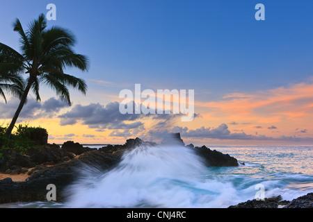 Sunrise at Secret Beach, Kihei, Maui, Hawaii - Stock Photo