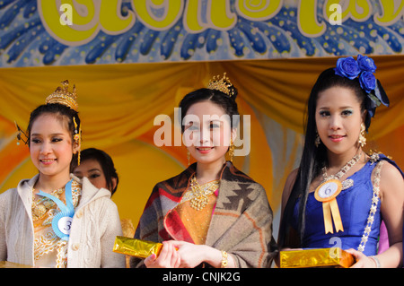 London UK. At Songkran, Thai New Year, winning contestants in the annual Miss Songkran beauty contest. - Stock Photo