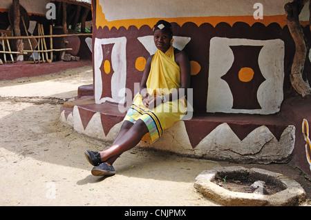 Girl in Pedi village, Lesedi African Cultural Village, Broederstroom, Johannesburg, Gauteng Province, Republic of - Stock Photo