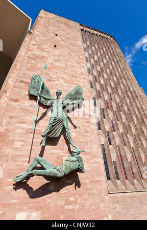 St Michael and the Devil sculpture outside Coventry new cathedral west midlands England GB UK EU Europe - Stock Photo