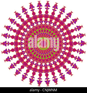 Artistic mandala design in pink and purple colors - Stock Photo