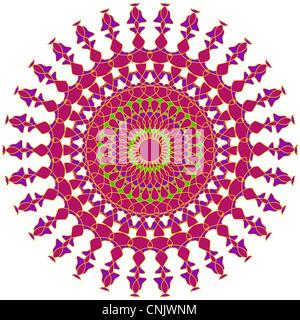 Artistic mandala design in pink and purple colors - Stock Photo