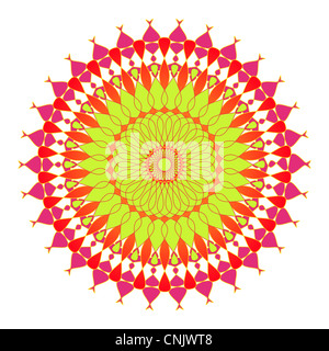Artistic mandala design in green, pink and orange colors - Stock Photo