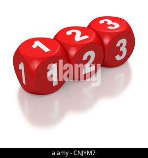 123 as text or concept on red dice or blocks on white background - Stock Photo