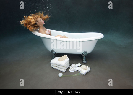 Young Woman Bathing Herself In Her Victoria Albert Claw