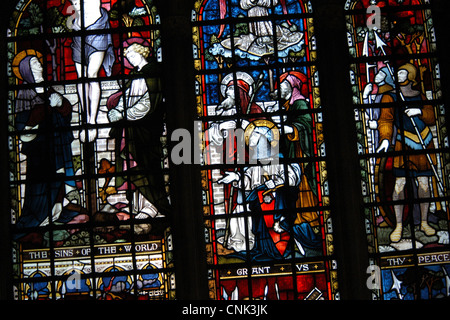 Stained glass window in the Chichester Cathedral in West Sussex, South East England, UK. - Stock Photo