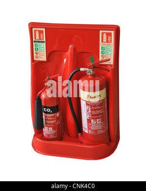 cutout of two types of fire extinguishers - foam and CO2 - Stock Photo
