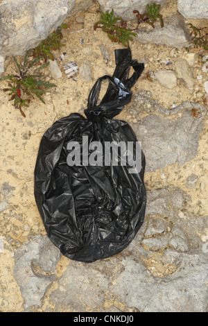 Domestic Dog, muck in plastic waste bag, left on coastal rocks, Portland Bill, Isle of Portland, Dorset, England, - Stock Photo