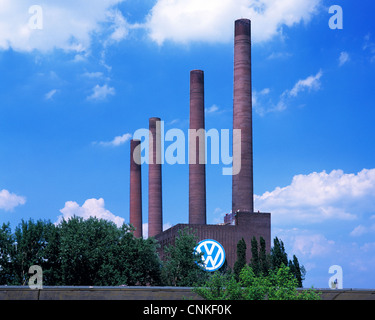 D-Wolfsburg, Mittelland Canal, Lower Saxony, Volkswagen, Volkswagen factory, old combined heat and power station, - Stock Photo