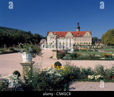 Renaissanceschloss und Schlosspark in Weikersheim, Taubertal, Baden-Wuerttemberg - Stock Photo