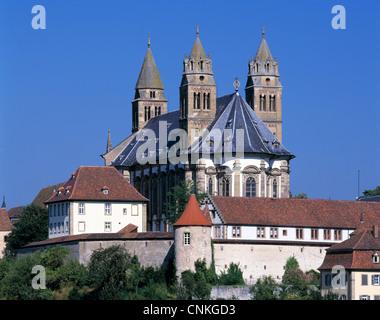 Benediktinerkloster Grosscomburg mit Stiftskirche Sankt Nikolaus in Schwaebisch Hall-Steinbach, Hohenlohe, Baden - Stock Photo