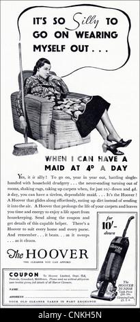 HOOVER upright vacuum cleaner advert Original 1930s vintage advert in consumer magazine, advertisement advertising - Stock Photo