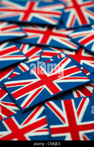 Union Jack flag embroidered patch pattern. Shallow DOF - Stock Photo