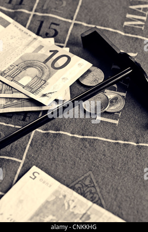 money on a roulette table - Stock Photo