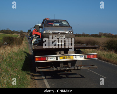 Recovery of a vehicle after an accident upon a sharp bend on a country road (B1325) where the driver lost control - Stock Photo