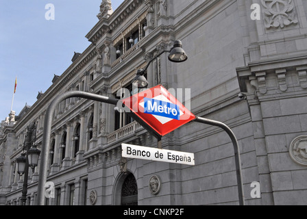 subway Banco de Espana Madrid Spain - Stock Photo