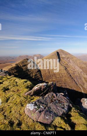 Summit of Tom na Gruagaich and Sgurr Mhor, Beinn Alligin, Torridon, Wester Ross, Scottish Highlands, Scotland - Stock Photo