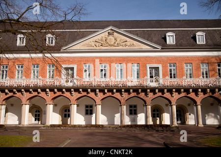courtyard and arcades of Aurich Castle 'Auricher Schloss' in Aurich, East Frisia, Lower Saxony, Germany - Stock Photo