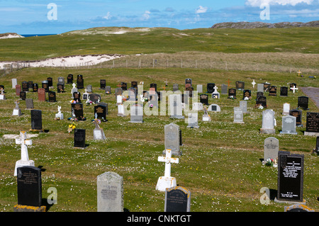Cemetery on the machair at Allathasdale on west coast of Barra in the Outer Hebrides. - Stock Photo