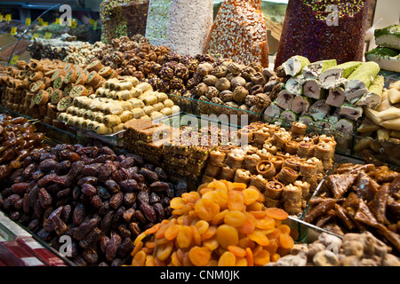 desserts, sweets, treats, dried fruits, baklava at the Egyptian Bazaar, Istanbul, Turkey - Stock Photo