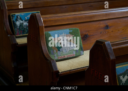 Hassock in Jesus Church, Troutbeck, featuring an embroidered image of the church itself, Cumbria, England UK - Stock Photo