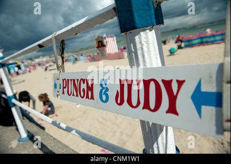 Punch and Judy on Weymouth Beach, Dorset, England - Stock Photo