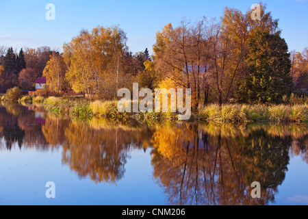 Autumn landscape with river in Russia. - Stock Photo