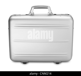 a side view modern silver briefcase isolated on white (clipping path) - Stock Photo