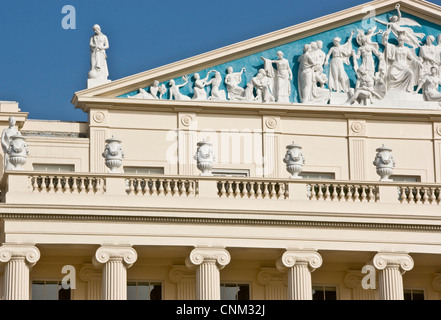 Decorative ornate sculptures artwork on grade 1 listed Regency style Cumberland House designed by John Nash London - Stock Photo