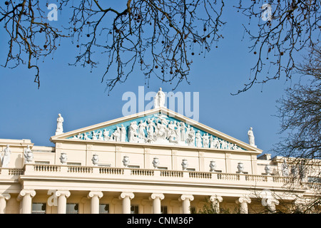 Decorative ornate sculptures on Regency style grade 1 listed Cumberland House designed by John Nash London England - Stock Photo