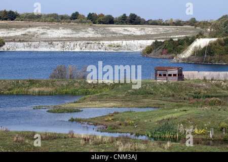 College Lake Nature Reserve, Buckinghamshire, England. Flooded chalk pits. - Stock Photo