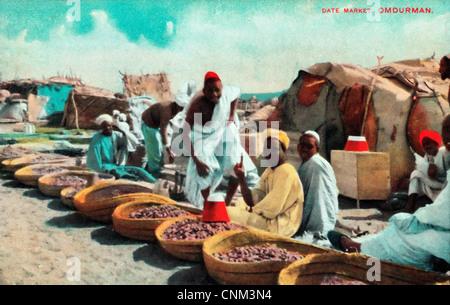 African Merchants -  Omdurman Date Market Postcard, Sudan, circa 1915 - Stock Photo