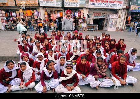 Asia India Punjab Amritsar schoolchildren - Stock Photo