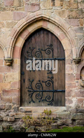 Architectural detail at the ruins of the priory at Bolton Abbey, Wharfedale, North Yorkshire. - Stock Photo