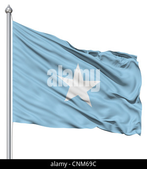 Realistic 3d flag of Somalia fluttering in the wind. - Stock Photo