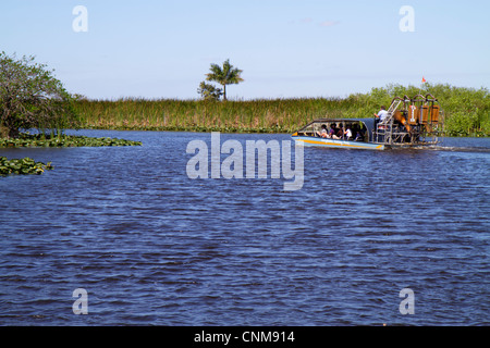 Fort Lauderdale Ft. Florida Everglades Wildlife Management Area Everglades Holiday Park covered airboat ride water - Stock Photo