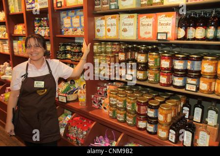 Fort Lauderdale Ft. Florida Cracker Barrel restaurant gift shop store shopping for sale woman employee uniform job - Stock Photo